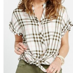 BUFFALO DAVID BRITTON Daleena Plaid Cap Sleeve Top